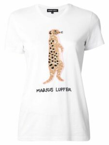 Markus Lupfer logo meerkat embroidered T-shirt - White