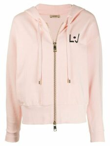 LIU JO rhinestone-logo zip-up hoodie - PINK