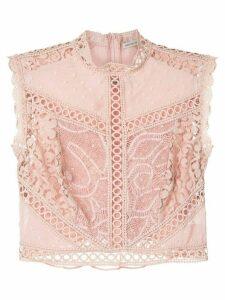 Martha Medeiros Dandara Plumettis lace cropped top - PINK