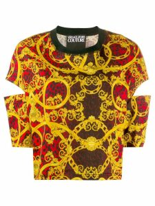 Versace Jeans Couture baroque-print cut-out top - Red