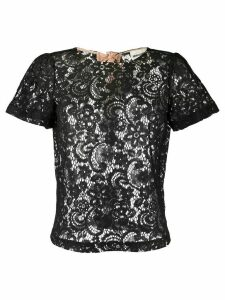Semicouture sheer lace T-shirt - Black