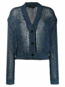 Roberto Collina v-neck crocheted cardigan - Blue