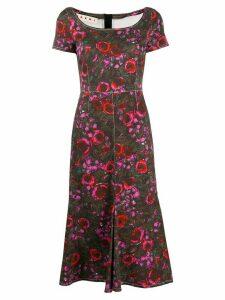 Marni floral-print denim dress - Green