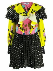 MSGM mix-print ruffled dress - Black
