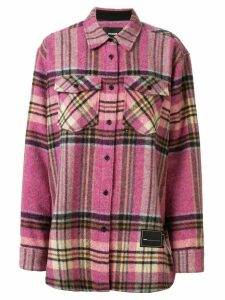 We11done oversized checked shirt jacket - PINK