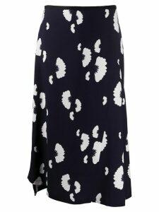 Odeeh asymmetrical monochrome fan print skirt - Blue