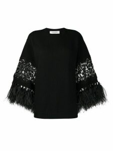 Valentino feather-trimmed jumper - Black