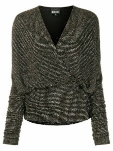 Just Cavalli metallic V-neck wrap blouse - Black
