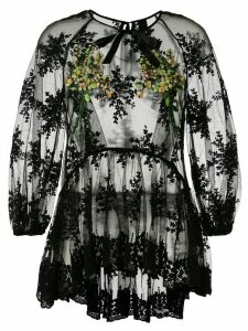 Romance Was Born Mimosa embroidered tulle top - Black