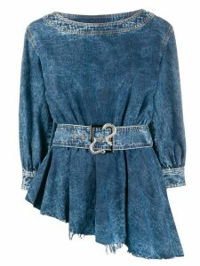 Just Cavalli asymmetric denim top - Blue