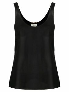Saint Laurent sheer flared top - Black