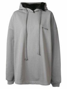 We11done oversized logo printed hoodie - Grey