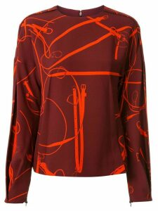 Victoria Beckham horse bit print top - Red