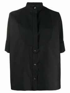 Sacai round contrast front bib shirt - Black