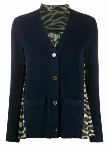 Sacai zebra-panel knit cardigan - Blue