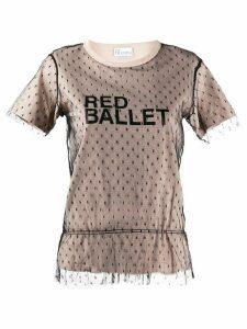 RedValentino point d'Esprit tulle logo T-shirt - NEUTRALS