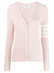 Thom Browne 4-bar Mesh Stitch Classic V-neck Cardigan - PINK