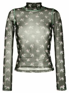 Sandy Liang sheer floral-print top - Black