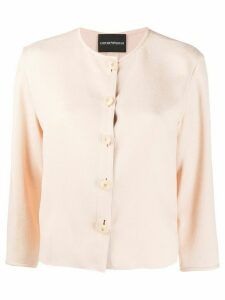Emporio Armani collarless regular-fit shirt - PINK