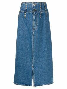 Sandro Paris high rise stud-embellished denim skirt - Blue