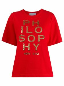 Philosophy Di Lorenzo Serafini sequinned logo cotton T-shirt - Red