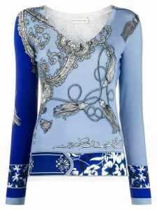 Etro paisley-pattern v-neck jumper - Blue