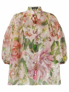 Dolce & Gabbana sheer floral print shirt - PINK