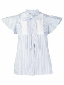 RedValentino striped cap sleeves blouse - Blue