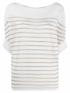 Lorena Antoniazzi striped crocheted top - NEUTRALS