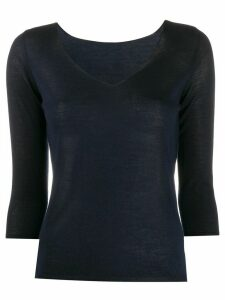 Roberto Collina fine-knit v-neck jumper - Blue
