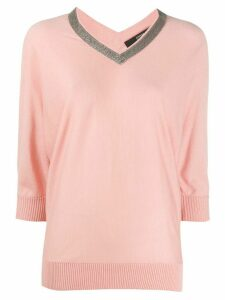 Steffen Schraut v-neck three-quarter sleeve top - PINK