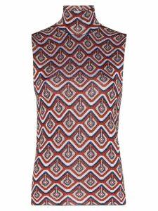Paco Rabanne geometric-pattern sparkle tank top - Red