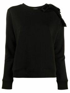 RedValentino bow-embellished crewneck sweatshirt - Black