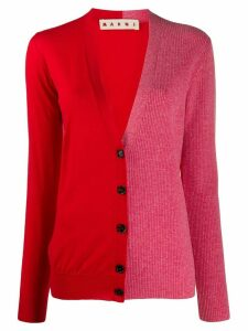 Marni bicolour virgin wool cardigan - Red