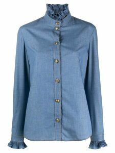 Philosophy Di Lorenzo Serafini long-sleeved ruffled-neck shirt - Blue