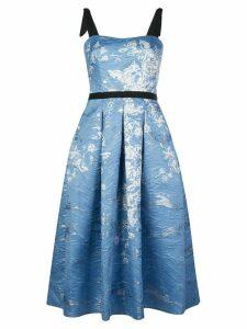 Marchesa Notte floral print pleated dress - Blue