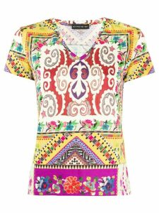 Etro geometric print V-neck T-shirt - NEUTRALS