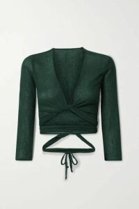 Caravana - Lahun Leather-trimmed Cotton-gauze Wrap Top - Dark green