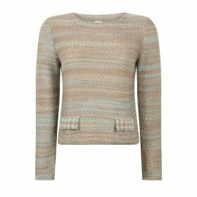 STUDIO MYR - Boatneck Woollen Jumper In Audrey Hepburn Style Tweed-Fair