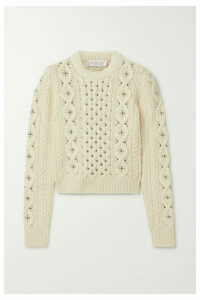 Michael Kors Collection - Embellished Cable-knit Cashmere Sweater - Cream