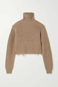 RtA - Beau Distressed Ribbed Cotton Turtleneck Sweater - Light brown
