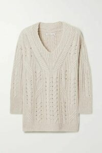 Agnona - Cable-knit Cashmere And Linen-blend Sweater - Beige