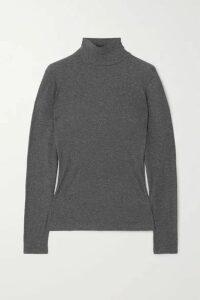 Ninety Percent - + Net Sustain Kaye Ribbed Organic Cotton-jersey Turtleneck Top - Gray