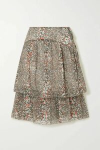 See By Chloé - Tiered Printed Cotton And Silk-blend Chiffon Skirt - Ecru