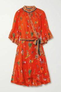 Camilla - Crystal-embellished Printed Silk Crepe De Chine Wrap Dress - Red