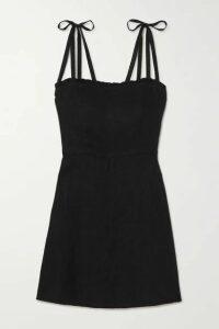 Honorine - Poppy Ruffled Linen Mini Dress - Black