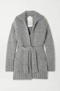 BITE Studios - + Net Sustain Belted Organic Wool And Alpaca-blend Cardigan - Gray