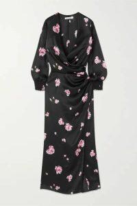 Reformation - + Net Sustain Chantelle Wrap-effect Floral-print Silk-satin Midi Dress - Black