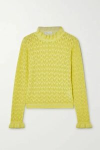 REDValentino - Ruffled Metallic Pointelle-knit Sweater - Yellow