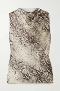 RtA - Selma Draped Snake-print Satin-twill Top - Snake print